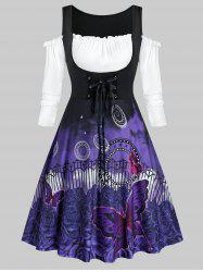 Plus Size Cold Shoulder Butterfly Flower Lace-up Frilled Dress -