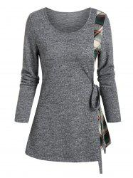 Plaid Insert Long Sleeve Knotted T-shirt -
