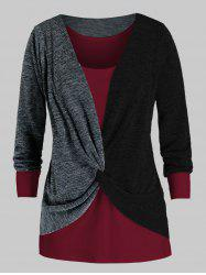 Plus Size Twisted Two Tone Bicolor Sweater and Tank Top Set -