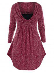 Plus Size Space Dye Cowl Front Curved Hem Lace Panel Tunic Tee -
