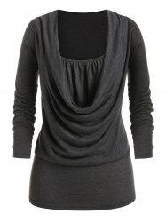 Plus Size Draped Cowl Front Ruched Long Sleeve Tee -