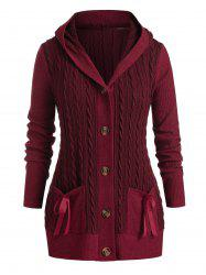 Plus Size Cable Knit Hooded Single Breasted Pocket Cardigan -