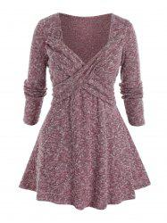 Plus Size Crossover Sweetheart Neck Tunic Sweater -