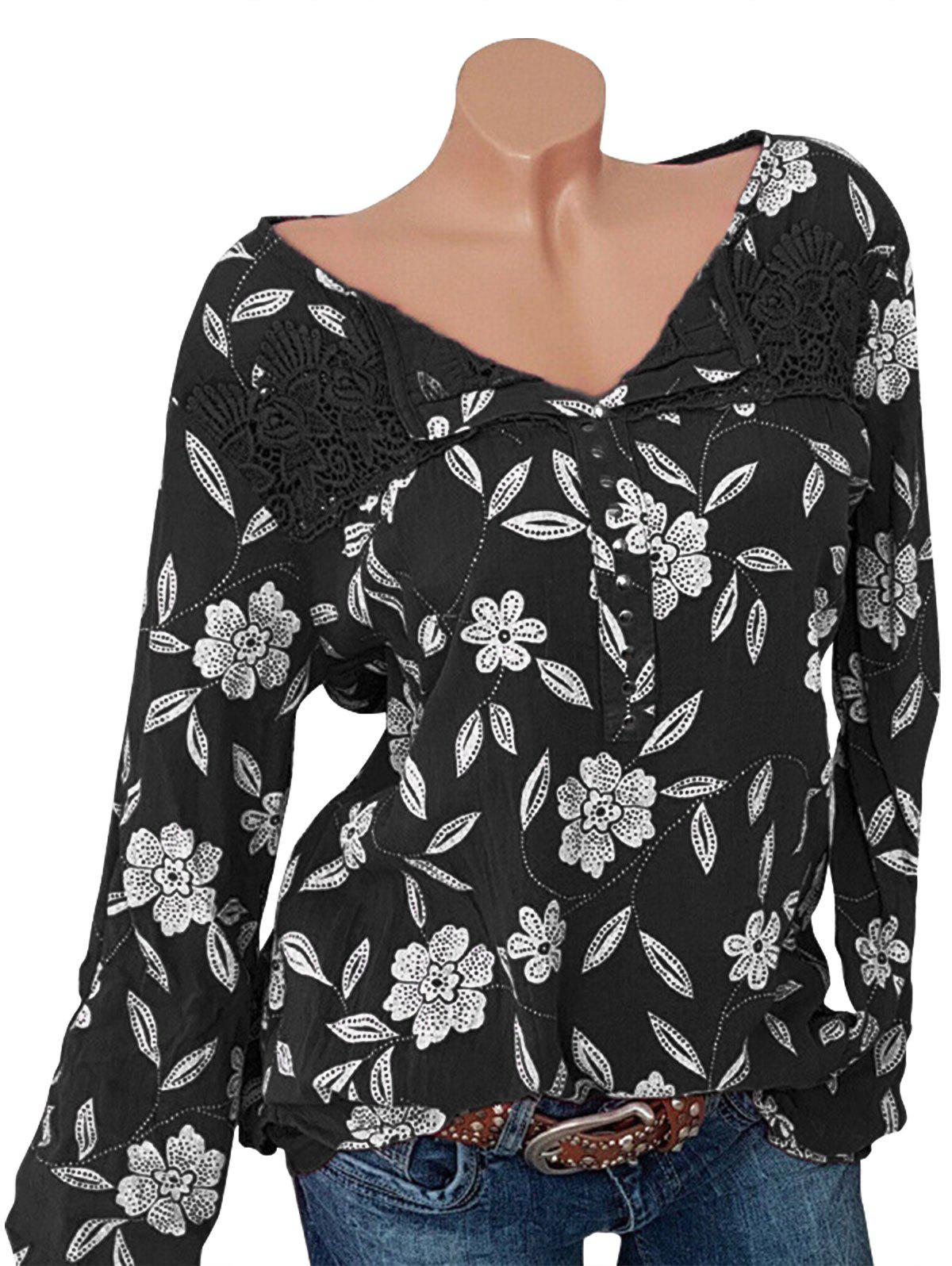 Best Plus Size Lace Insert Studded Floral Blouse