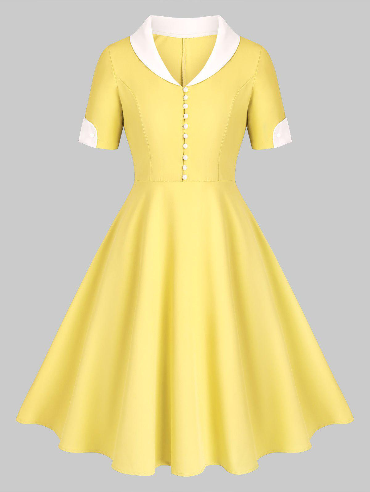 Buy Shawl Collar Button Placket Fit and Flare Dress