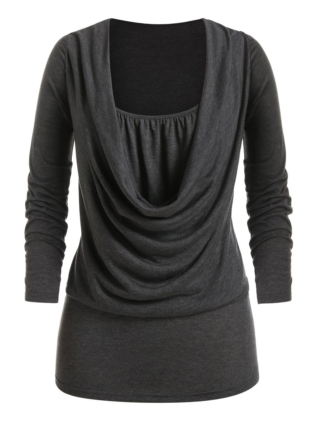 Fancy Plus Size Draped Cowl Front Ruched Long Sleeve Tee