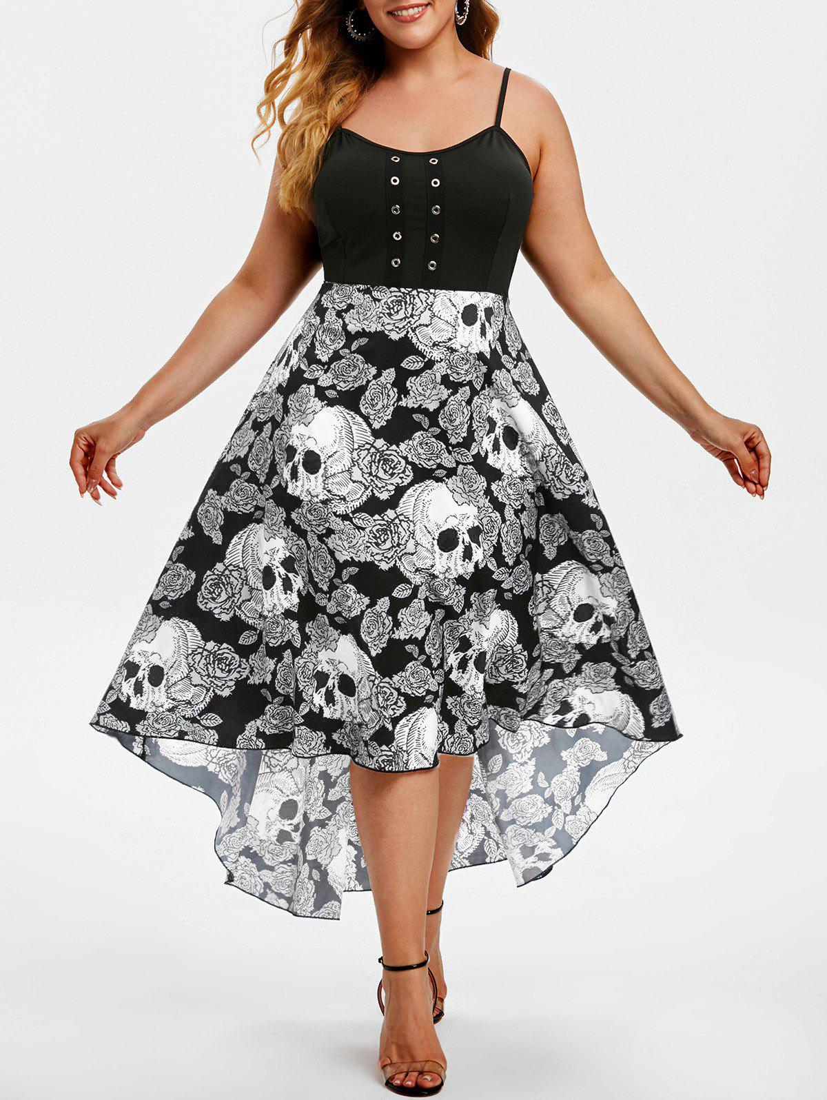 Online Grommet High Low Floral Skull Halloween Plus Size Dress