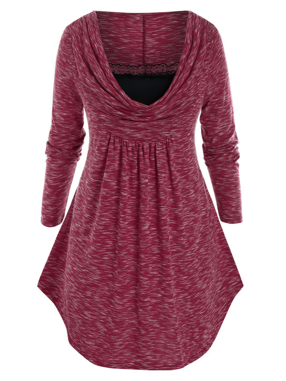Plus Size Space Dye Cowl Front Curved Hem Lace Panel Tunic Tee