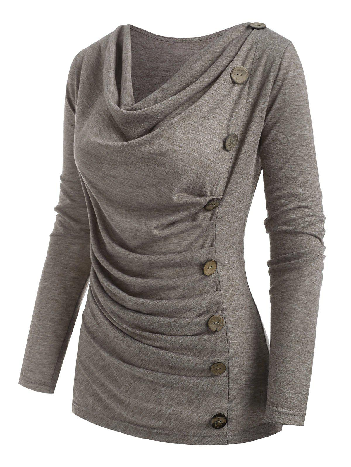Affordable Cowl Neck Heather Mock Button T-shirt