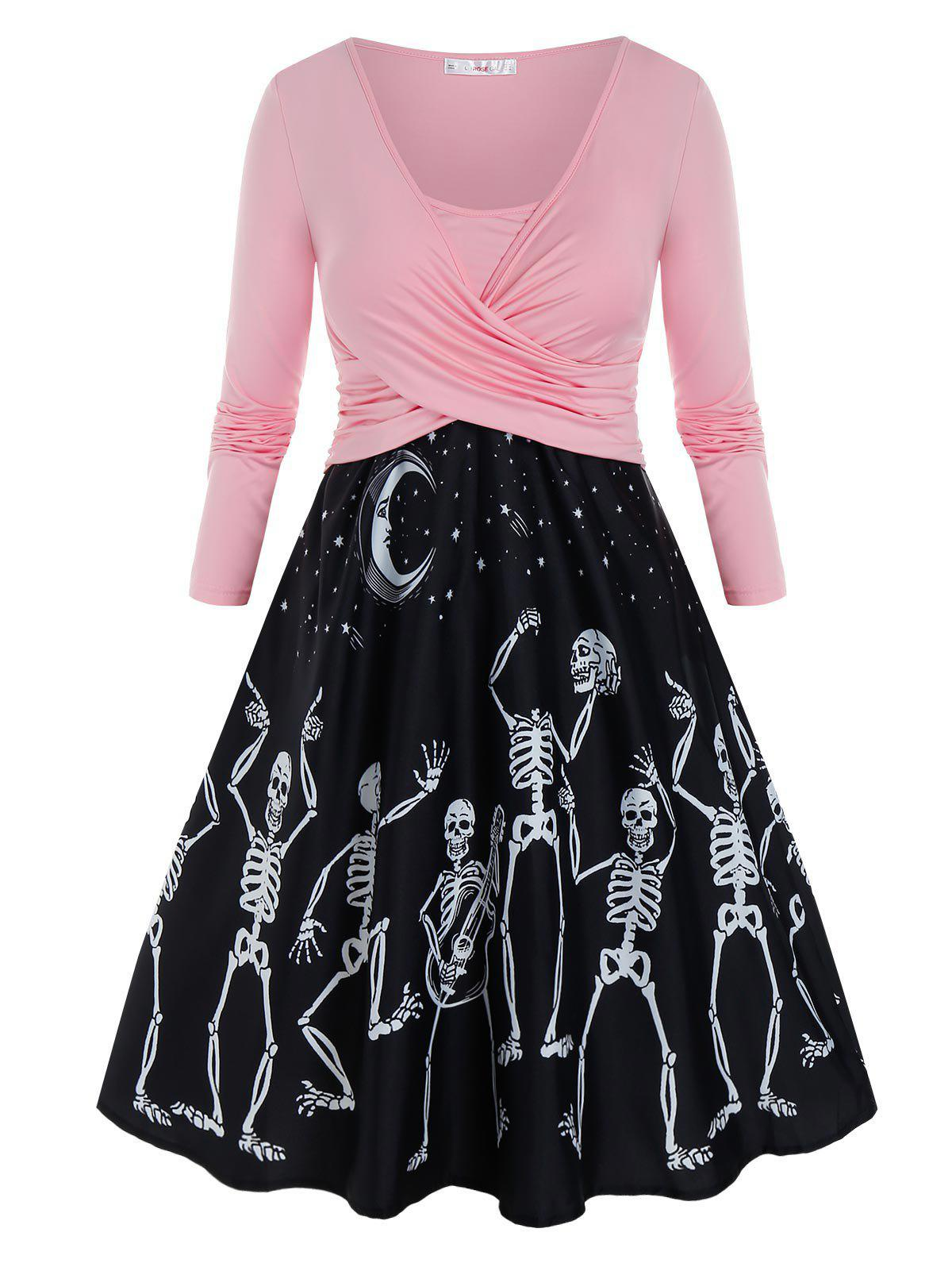 Discount Plus Size Skeleton Crossover Moon and Star A Line Dress