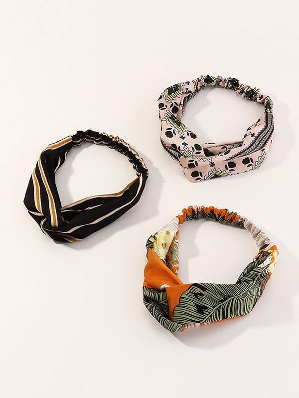 Outfit 3Pcs Striped Leaf Print Elastic Headband Set