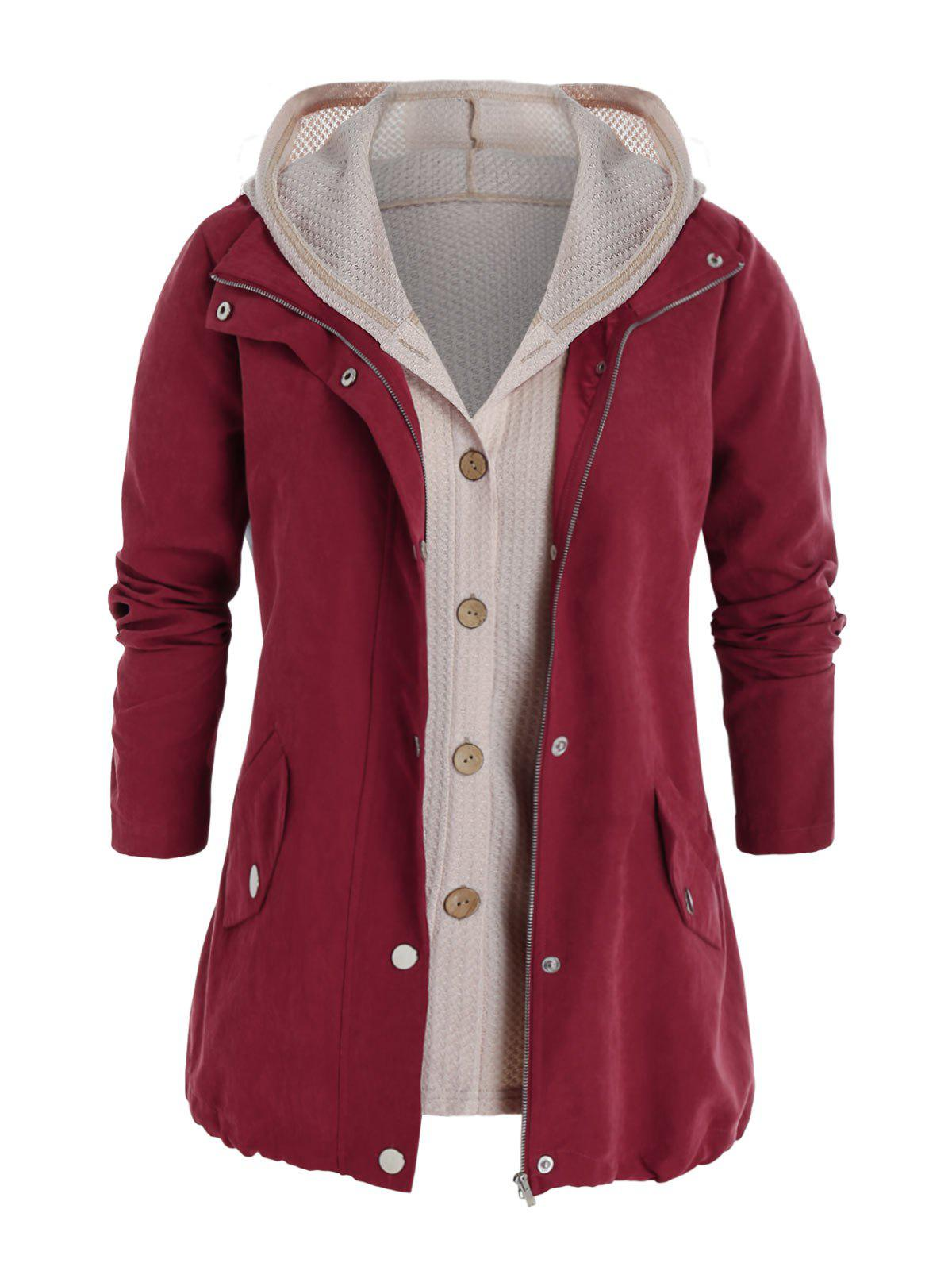 Chic Plus Size Zipper Pocket Jacket and Button Up Knit Top Set
