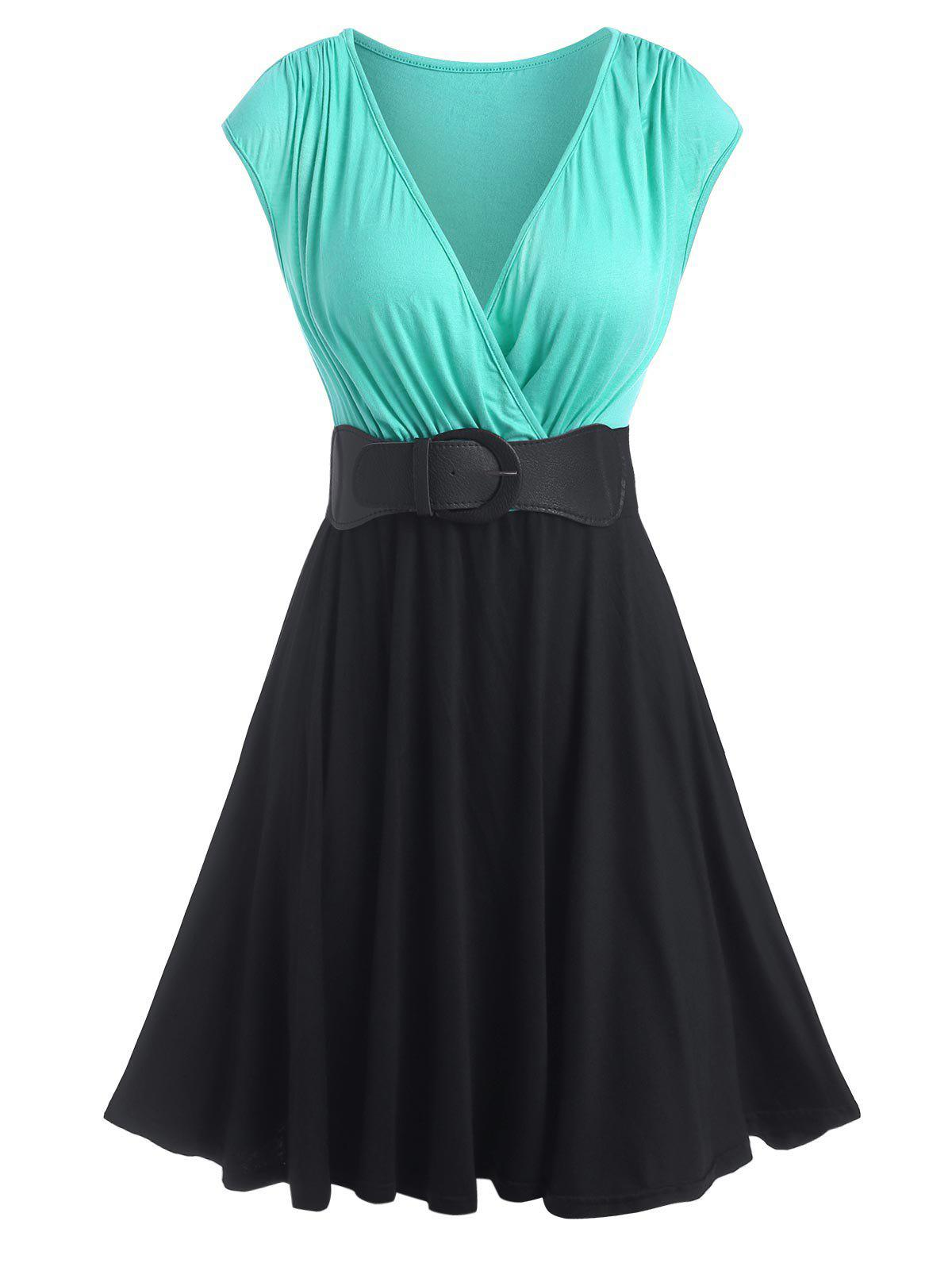 New Cap Sleeve Colorblock Belted Surplice Dress