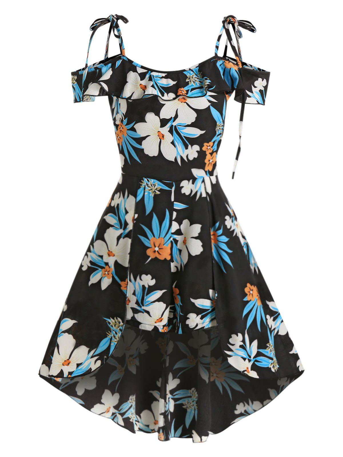 Outfit Floral Print Tie Shoulder Flounce Skirted Romper