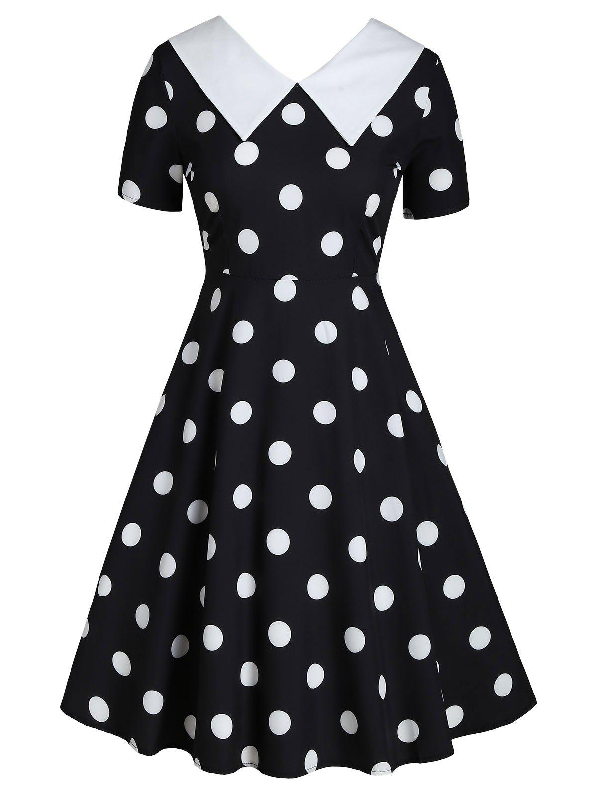 Hot Flat Collar Polka Dot Fit and Flare Vintage Dress