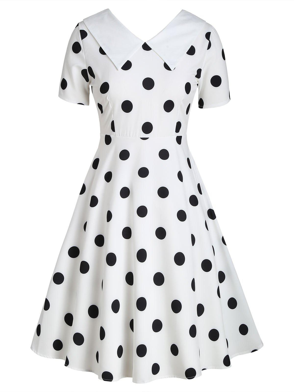 Trendy Flat Collar Polka Dot Fit and Flare Vintage Dress