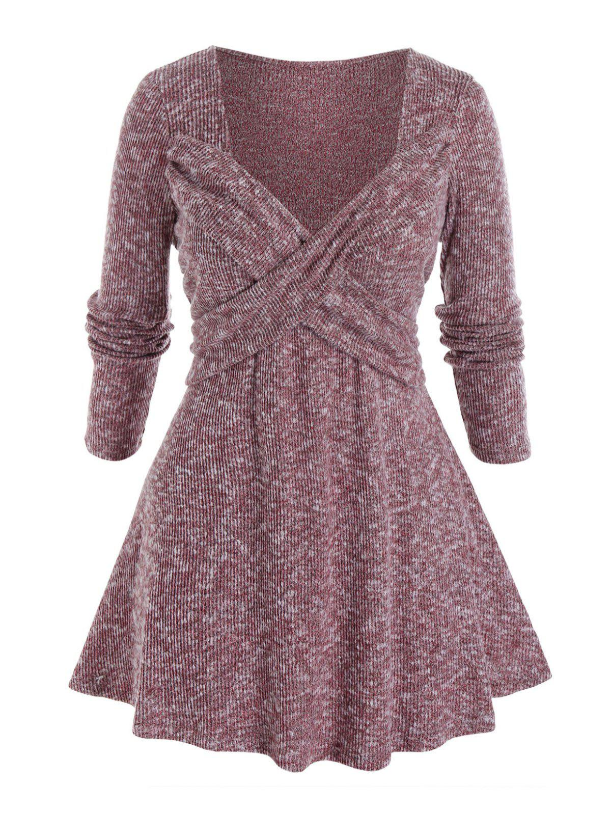 Store Plus Size Crossover Sweetheart Neck Tunic Sweater