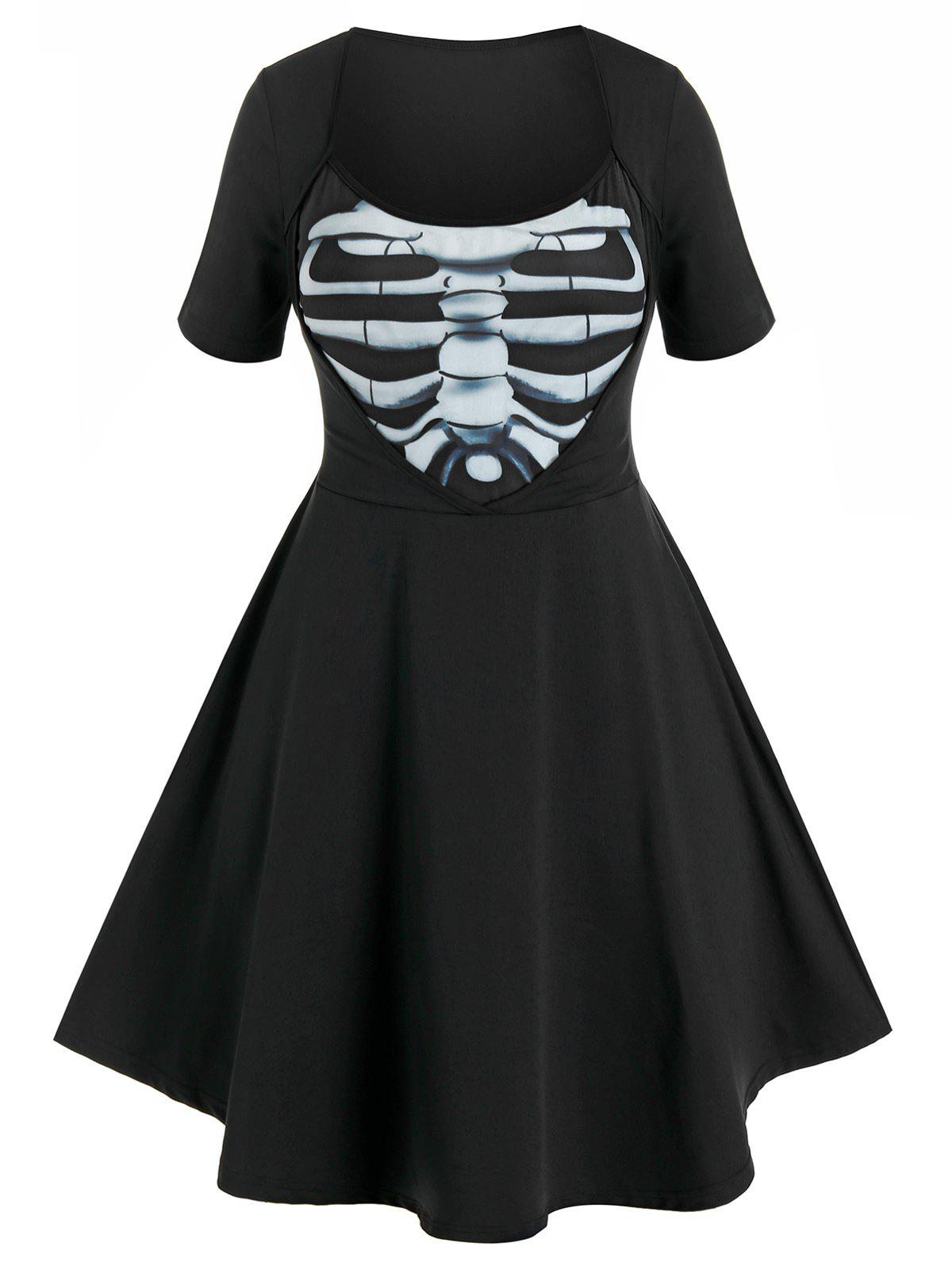 Affordable Plus Size Halloween Skeleton Print Dress
