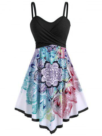 Bohemian Flower Crossover Sleeveless Dress