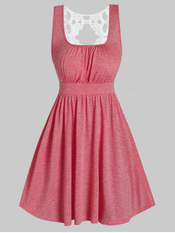 Lace Insert Sleeveless Heathered Dress