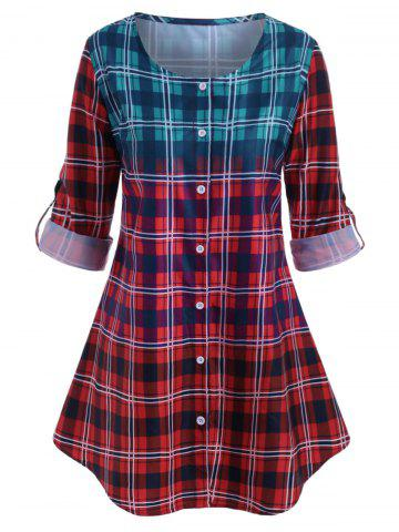 Plus Size Plaid Roll Up Sleeve Ombre Color Blouse