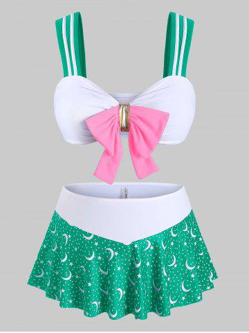 Plus Size Moon Stars Print Bowknot Three Piece Swimwear