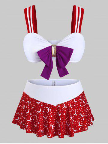 Plus Size Moon Stars Print Bowknot Three Piece Swimwear - RED - 1X
