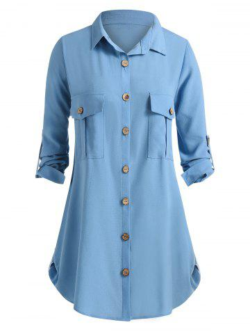 Plus Size Pockets Roll Up Sleeve Blouse - BLUE KOI - 1X
