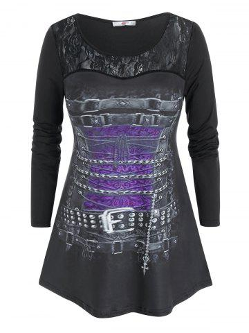 Plus Size Buckle Chain Print Lace Panel Long Sleeve Tee