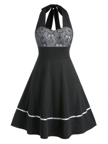 Plus Size Lace-up Backless Halter Skull Lace Retro Dress - BLACK - L