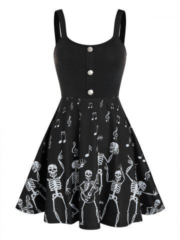 Halloween Skeleton Music Note Print Skater Dress - BLACK - XL
