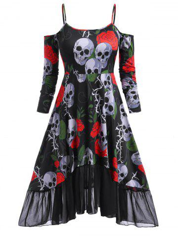 Rose Skull Cold Shoulder High Low Halloween Plus Size Dress - RED - 1X