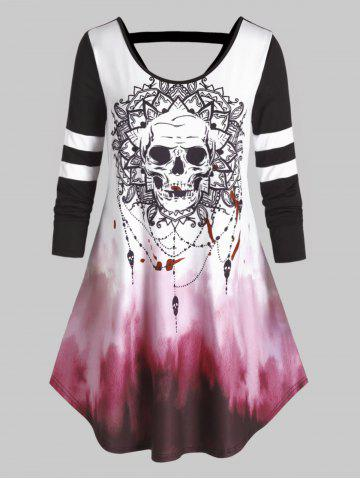 Plus Size Halloween Skull Tie Dye Cutout Curved Tee - BLACK - 4X