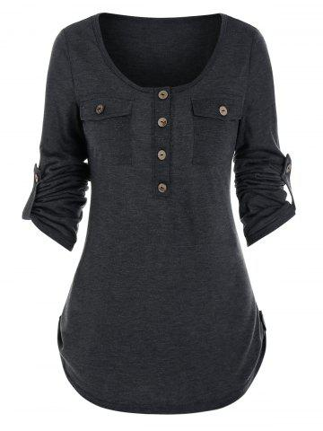 Buttons Pockets Roll Tab Sleeve Casual T-shirt