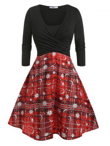 Plus Size Front Cross Plaid Print Dress