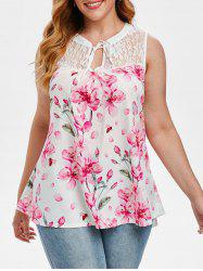Plus Size Lace Panel Floral Print Tank Top -