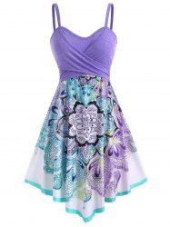 Bohemian Flower Crossover Sleeveless Dress -