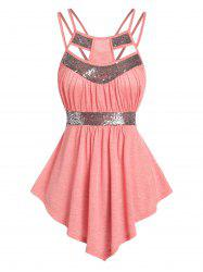 Sequin Panel Cut Out Strappy Tank Top -