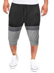 Colorblock Panel Drawstring Jogger Shorts -