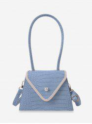 Retro Textured Faux Pearl Trapezoid Shoulder Bag -