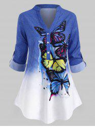 Plus Size Butterfly Print  Roll Up Sleeve Ombre Color Top -