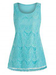 Plus Size Lace Overlay Swing Tank Top -