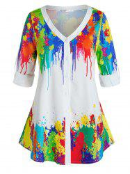Plus Size Colorful Splatter Paint Roll Tab Sleeve Top -