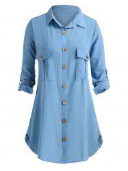 Plus Size Pockets Roll Up Sleeve Blouse -