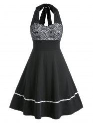 Plus Size Lace-up Backless Halter Skull Lace Retro Dress -