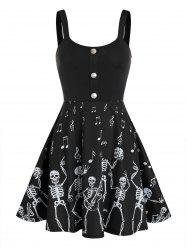Halloween Skeleton Music Note Print Skater Dress -