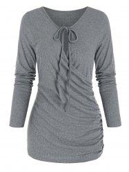 Lace Up Keyhole Neck Ruched Wrap Top -