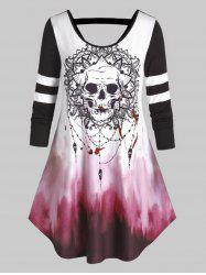 Plus Size Halloween Skull Tie Dye Cutout Curved Tee -