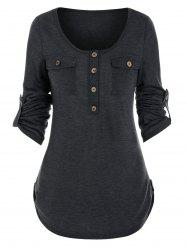 Buttons Pockets Roll Tab Sleeve Casual T-shirt -