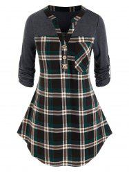 Plus Size Plaid Curved Hem Roll Tab Sleeve V Notch Top -